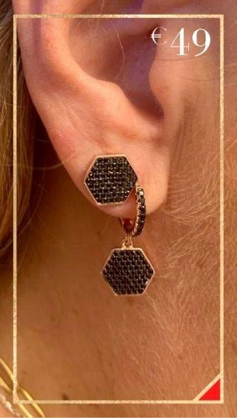 Brincos em prata dourada rosa 925 tornilho e argola com pendente BR09591