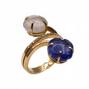 Anel Ouro Trevos em Tanzanite e Quartz Rosa com Diamantes AN5021