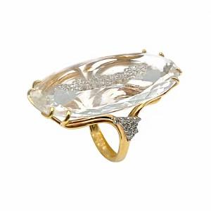 Anel Ouro Mapa Cristal com Diamantes AN2587