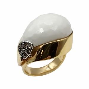 Anel Ouro Agata Branca com Diamantes Castanhos AN3061