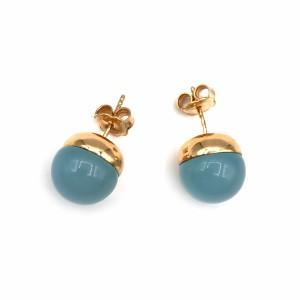 Brincos Ouro Rosa com Calcedónia Azul BR08445