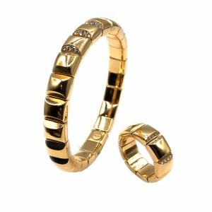 Pulseira e Anel Ouro Rosa Quadrados Flexíveis com Diamantes PU02663 / AN4835
