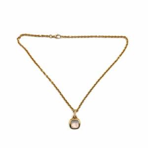Colar Ouro Pendente Quartz Rosa e Diamantes CL2813