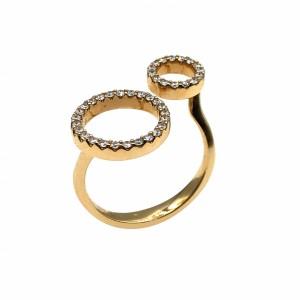 Anel Ouro Círculos com Diamantes AN4817