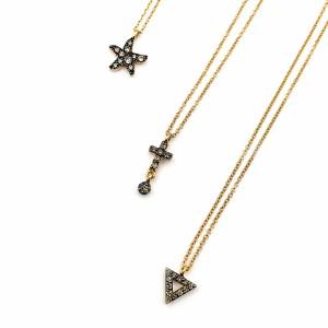 Fios Ouro Pendente Estrela,  Pendente Cruz,  Pendente Triângulo com Diamantes Champanhe CL3054 / CL3326 / CL3324