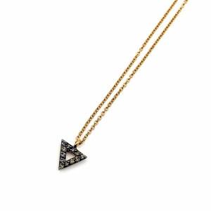 Fio Ouro Pendente Triângulo com Diamantes Champanhe CL3324
