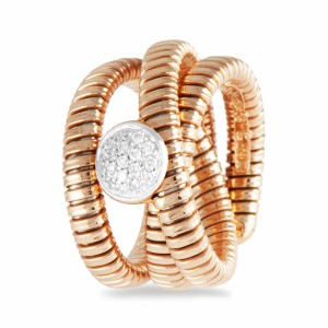 Anel de ouro rosa com diamantes brancos 431901