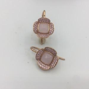 Brincos Prata Dourada Rosa com Zircónias e Madrepérola BR09054