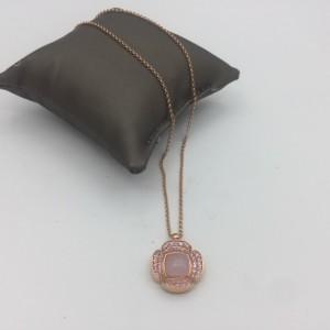 Colar Prata Dourada Rosa com Zircónias e Madrepérola CL3723