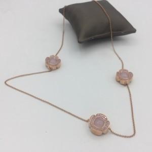 Colar Prata Dourada Rosa com Zircónias e Madrepérola CL3724