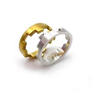 Aliança ouro bicolor acetinada 19,2 kt com 16,2 g AL00195